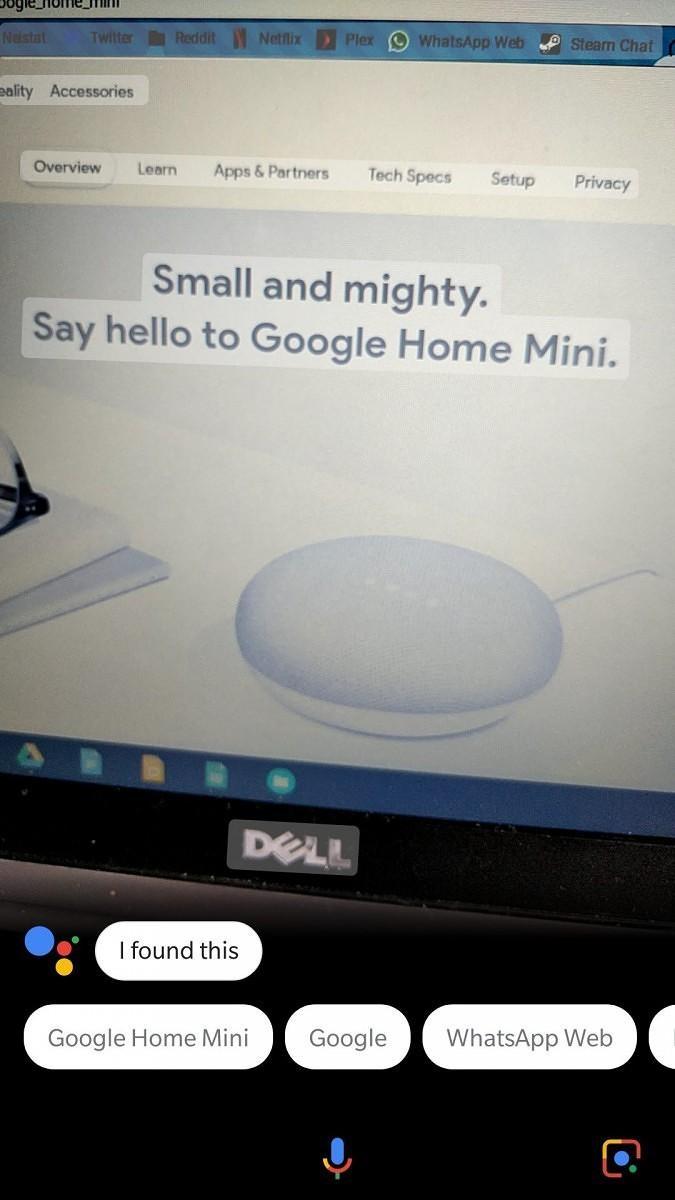 La scansione in azione su una schermata raffigurante il Google Home Mini