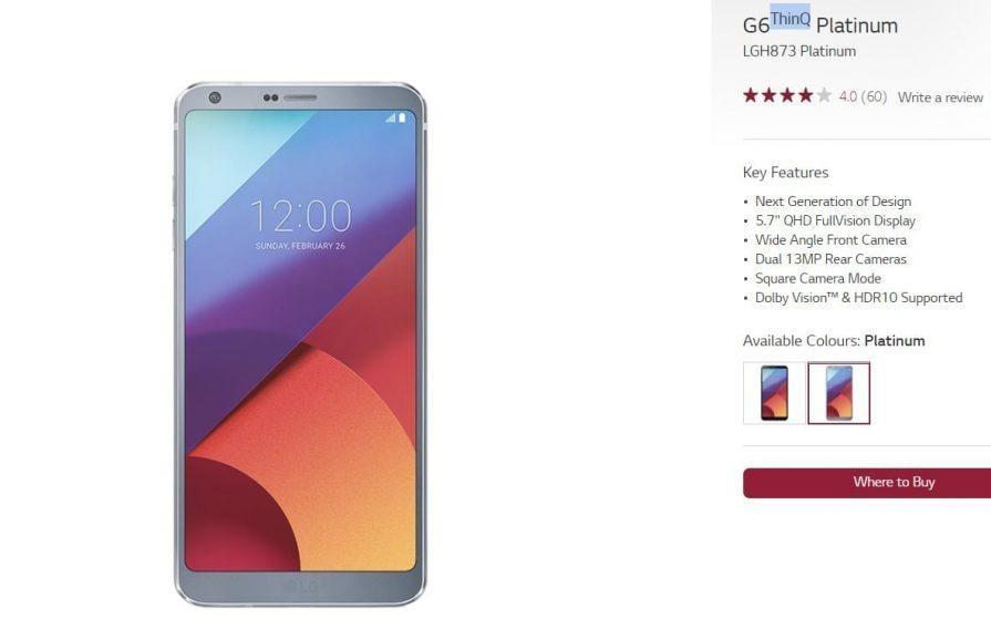 Anche LG G6 eredita la dicitura ThinQ