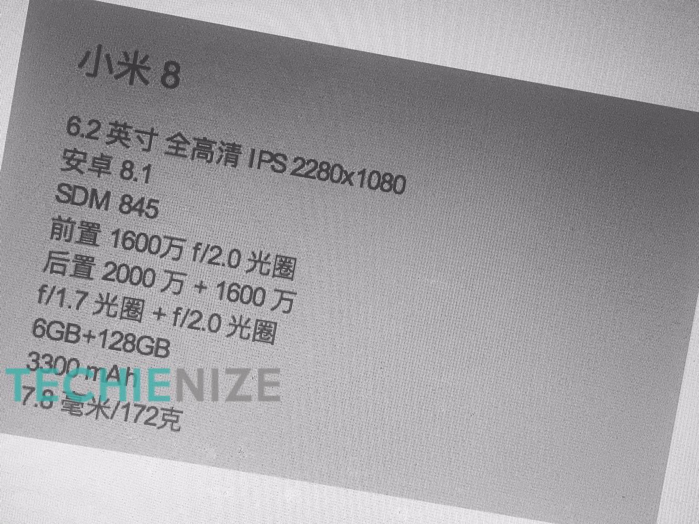 Trapelano le specifiche tecniche di Xiaomi Mi 8