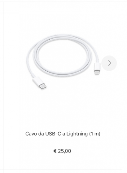 Alimentatore da USB-C a Lightning Apple