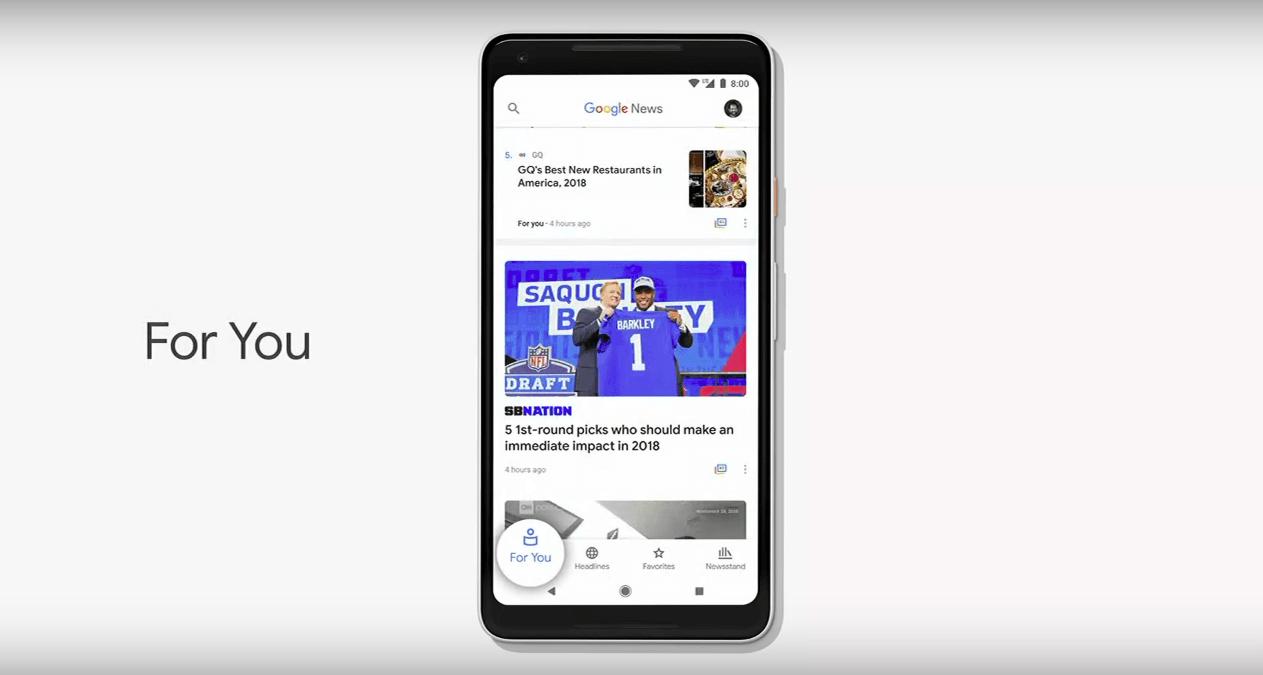 "Google News 2018 ""Per te"""
