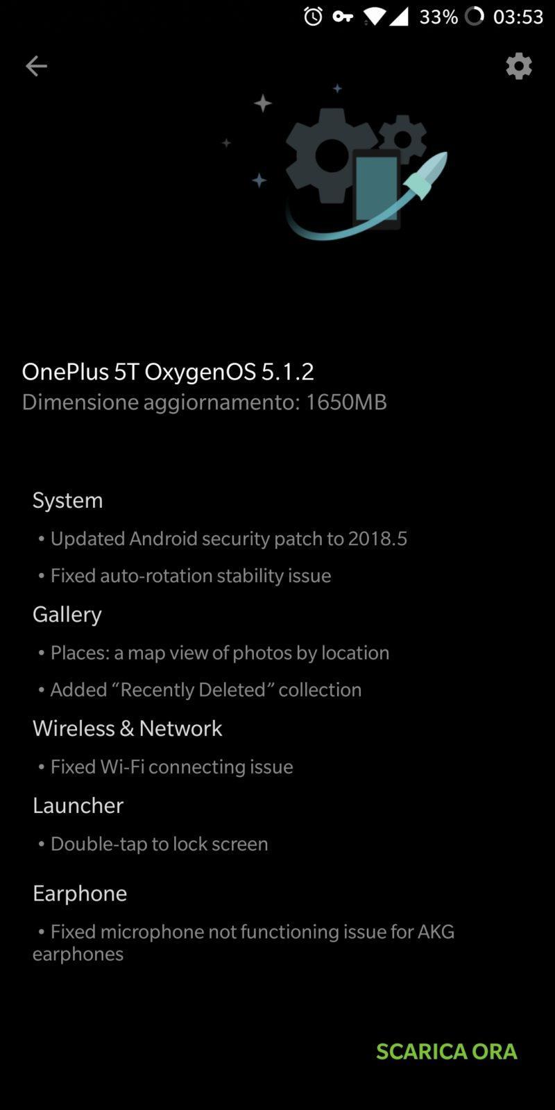 OnePlus 5 e 5T si aggiornano alla OxygenOS 5.1.2: patch di Marzo e GPRD