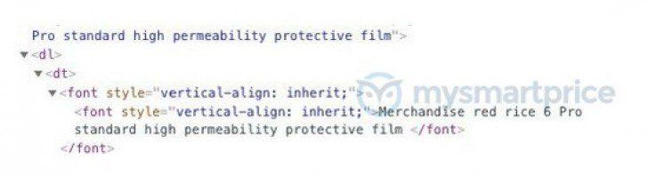 Il codice sorgente del sito ufficiale dove e visibile il richiamo al Redmi 6 Pro