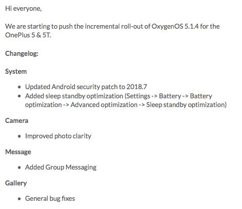 OnePlus 5 e 5T si aggiornano alla OxygenOS 5.1.4