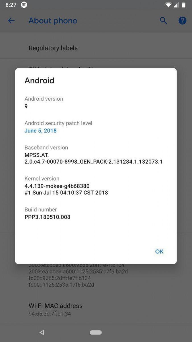 Informazioni di sistema Android P