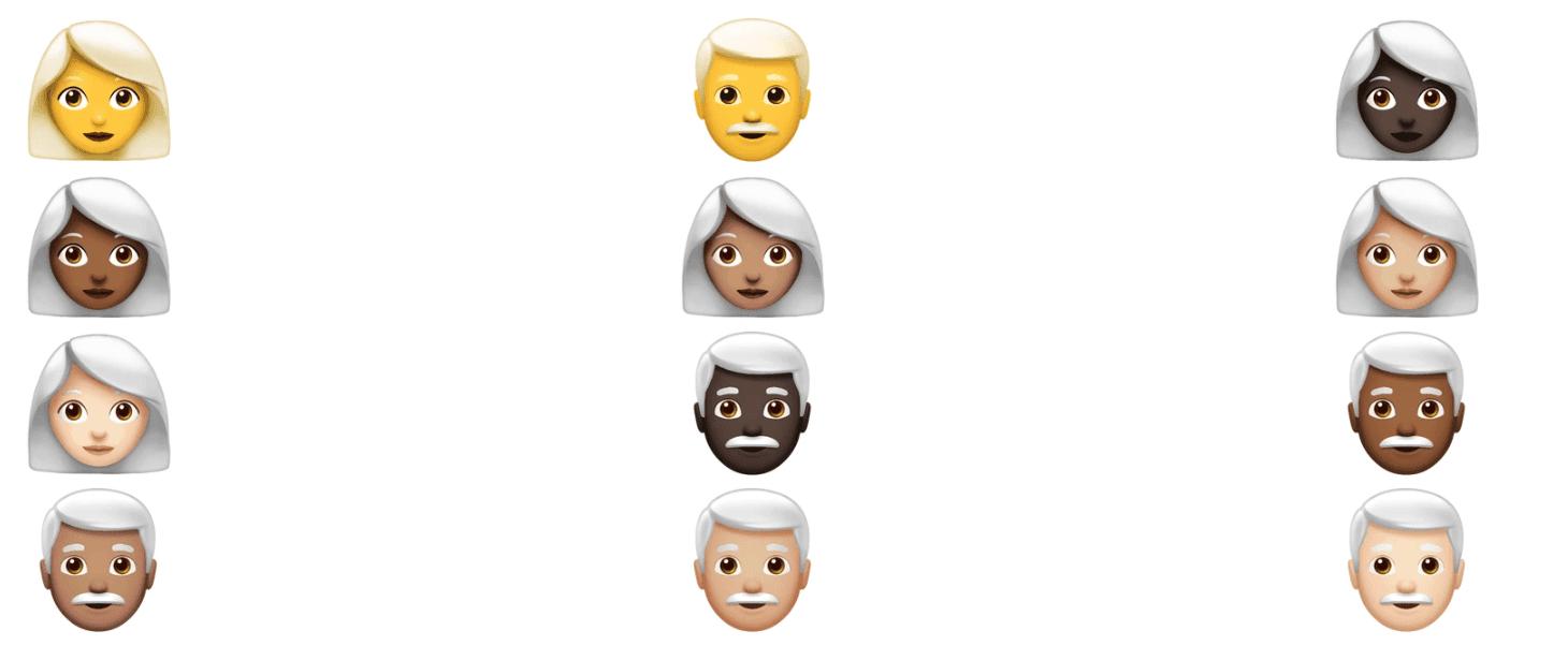 Emoji capelli grigi | Evosmart.it