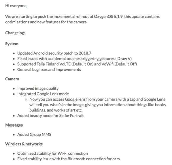 Su OnePlus 6 arriva la OxygenOS 5.1.9: miglioramenti per l'app fotocamera e non solo!