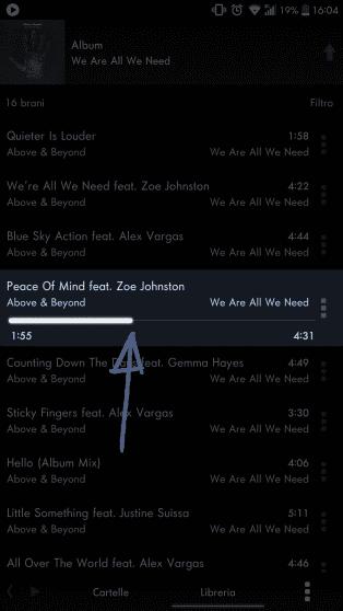 Una delle features rimosse dall'ultimo aggiornamento: comandare la riproduzione musicale del brano una lista. | Evosmart.it