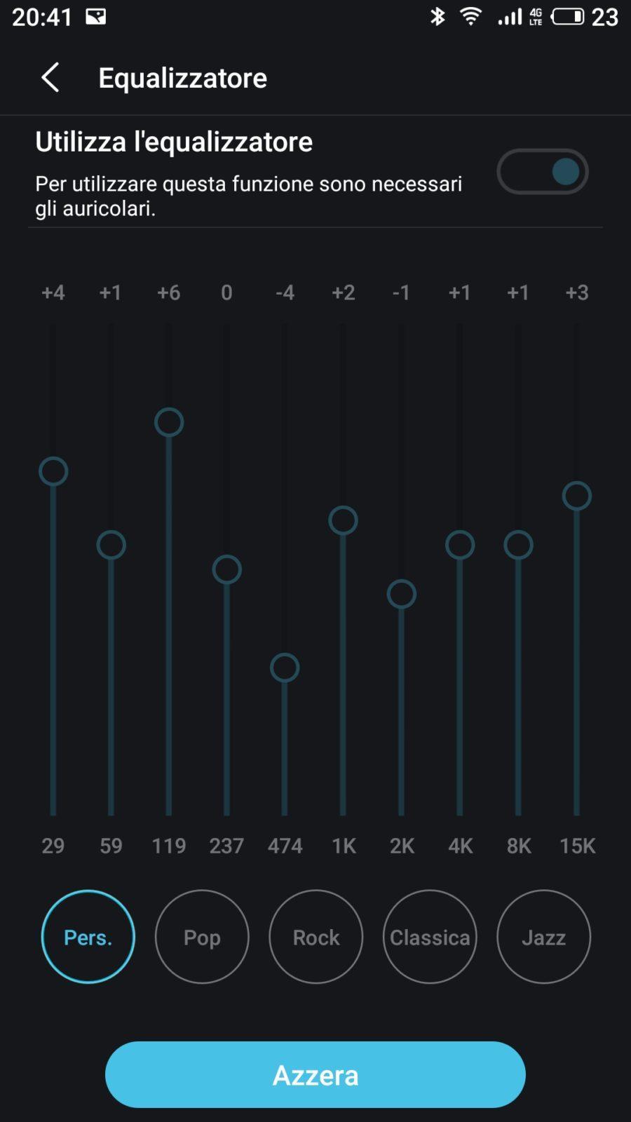 L'equalizzatore ora permette di personalizzare un maggior numero di frequenze | Evosmart.it