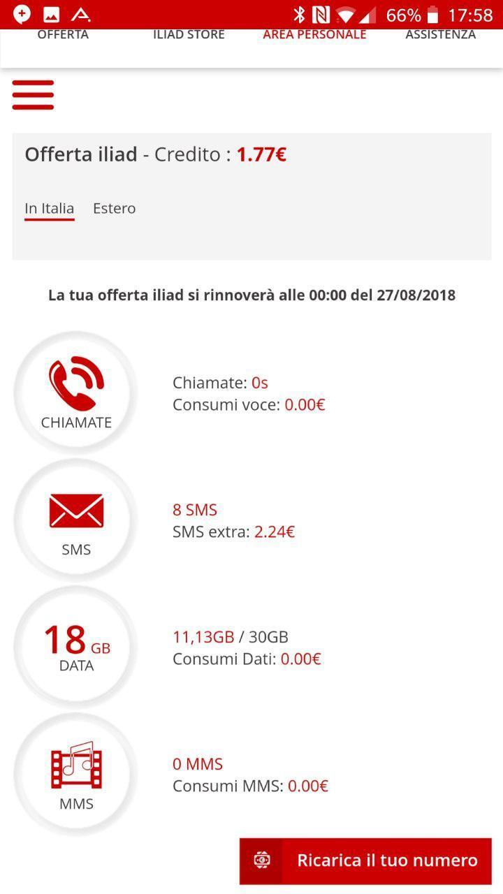 Informazioni consumi e credito Area Personale | Evosmart.it