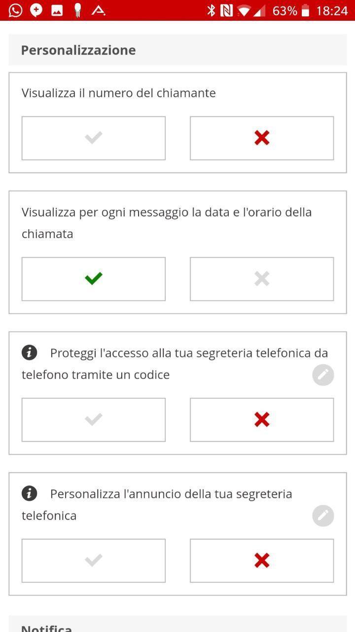Impostazioni segreteria | Evosmart.it