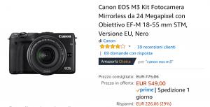 Canon m3 offerta