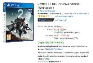 DESTINY 2 PS4 OFFERTA AMAZON EVOSMART.IT