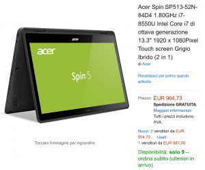Spin 5 acer offerta