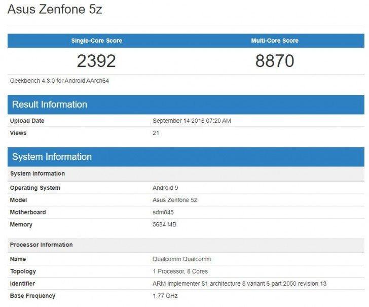 Azus Zenfone 5Z beccato con Android 9 Pie su Geekbench: siamo vicini all'update