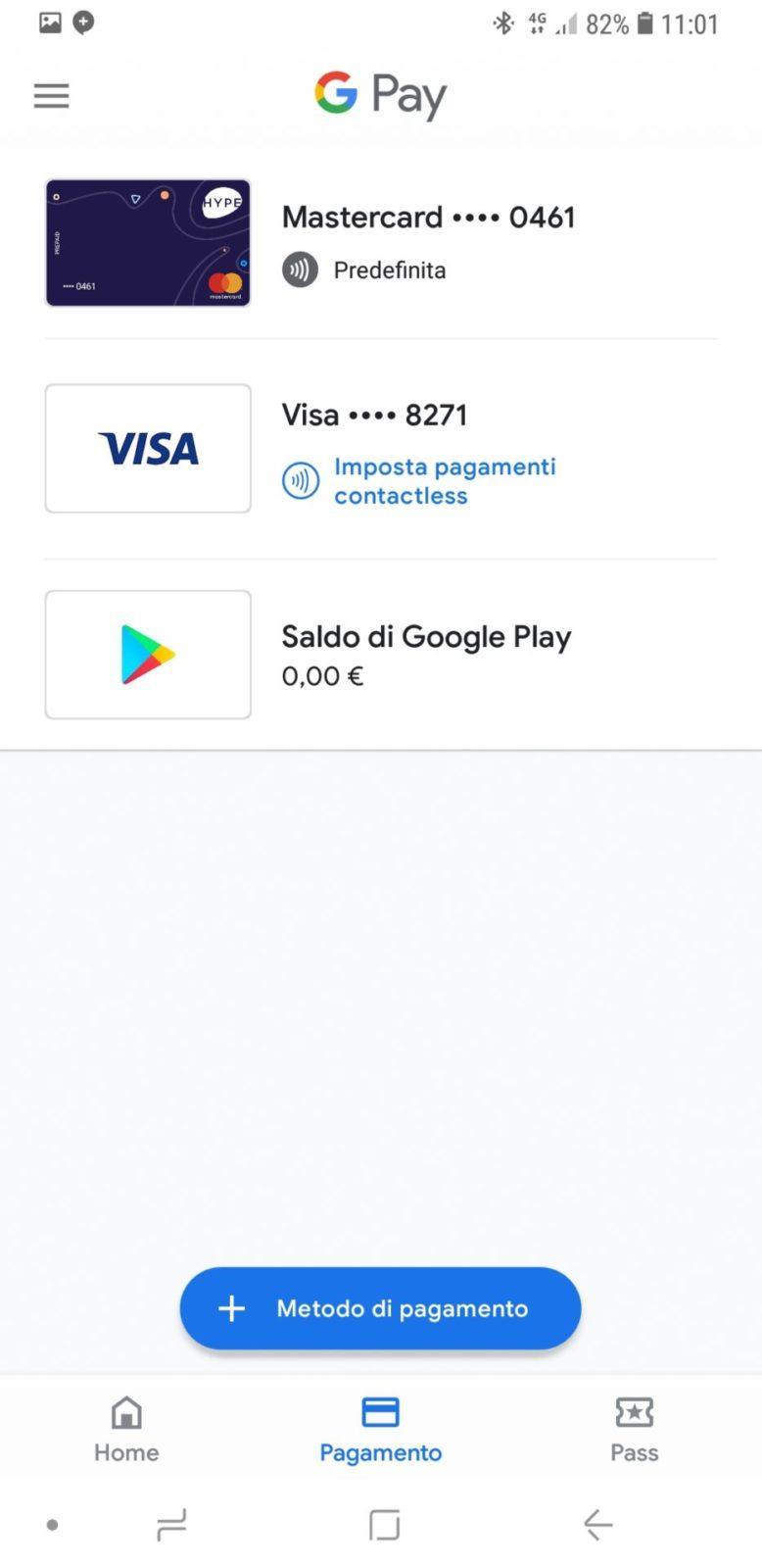 Selezione delle carte su Google Pay | Evosmart.it