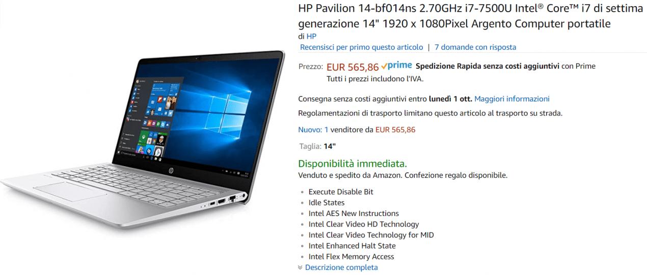 portatile hp offerta