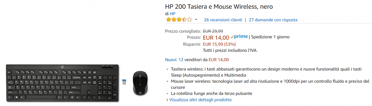 tastiera e mouse offerta