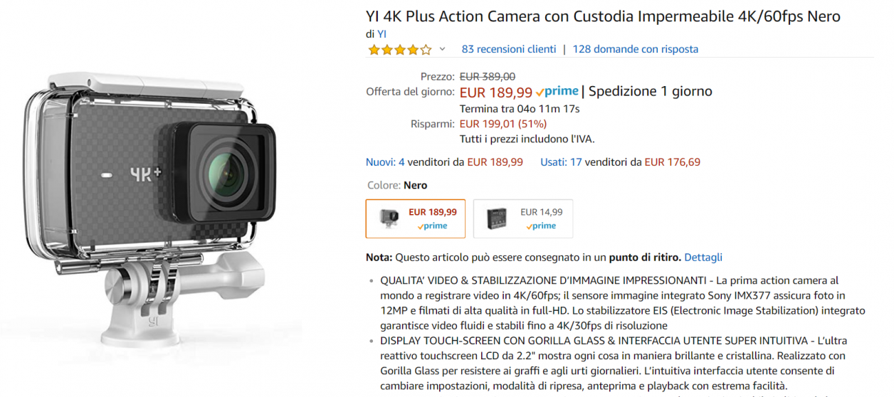 action cam offerta