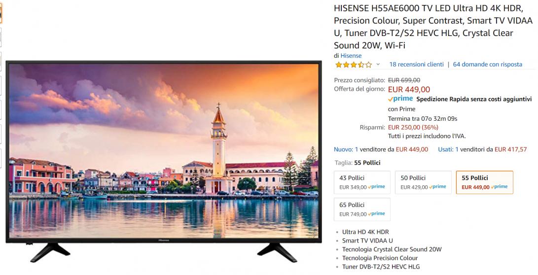 hisense tv offerta