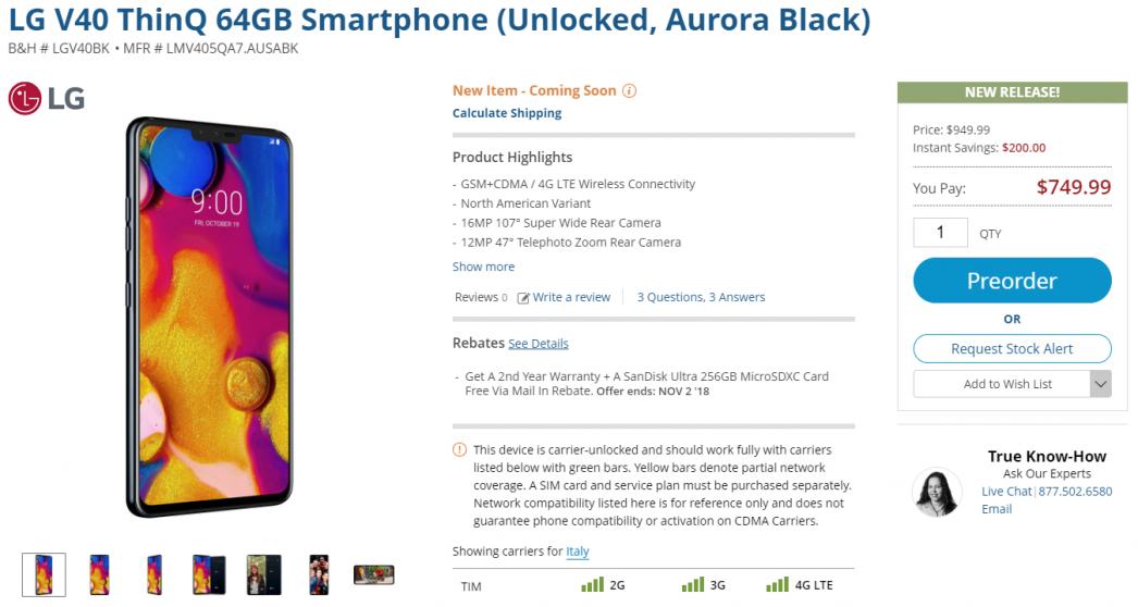 LG V40 In sconto al preordine con microSD 256GB gratuita nel sito ufficiale di B&H | Evosmart.it