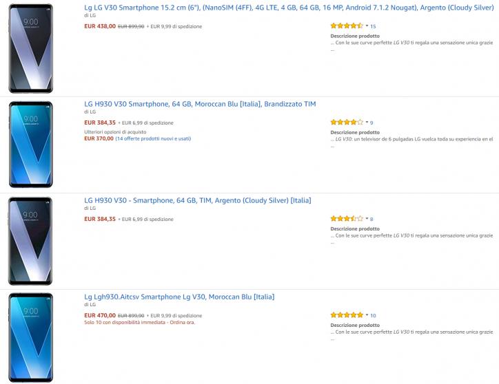 Svalutazione di LG V30 (brand e no-brand) ad oggi, su Amazon Italia | Evosmart.it