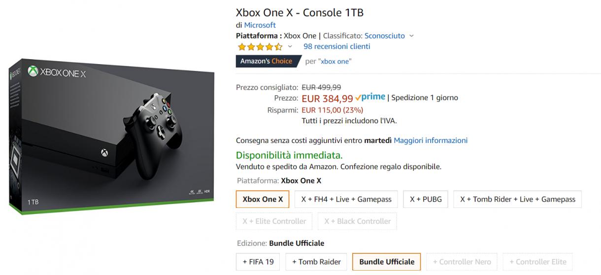 xbox one x offerta