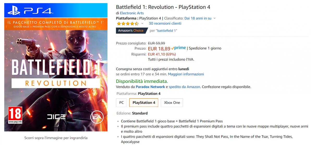 battelfield offerta