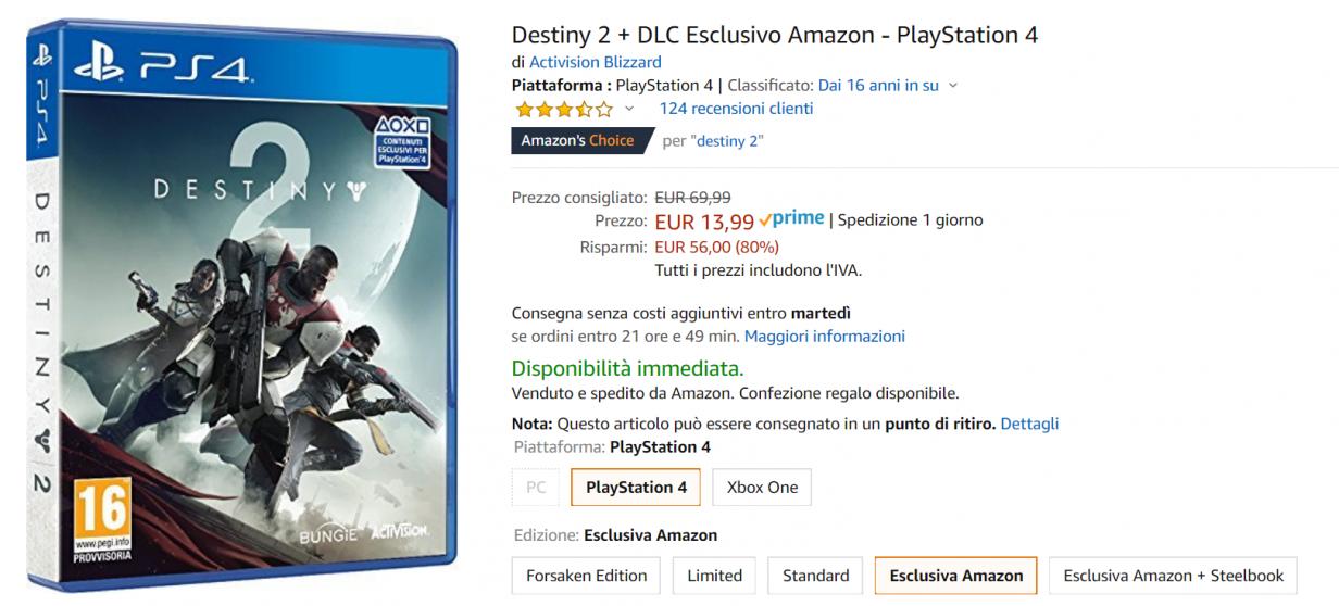 destiny 2 offerta