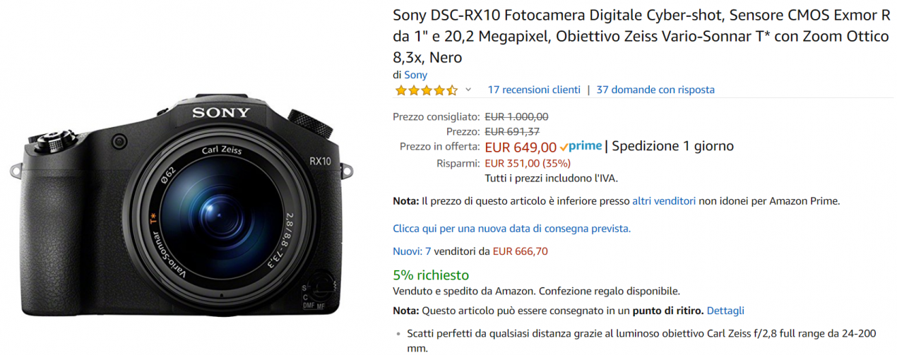 fotocamera sony offerta