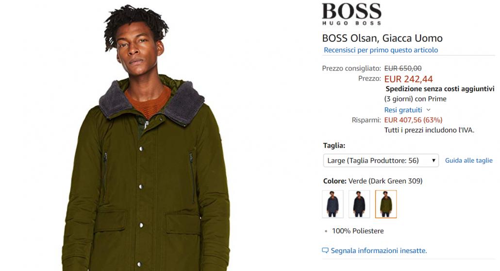 giacca boss offerta