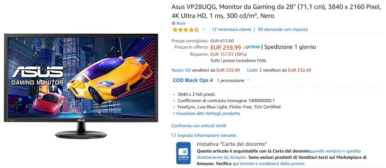 monitor gaming offerta