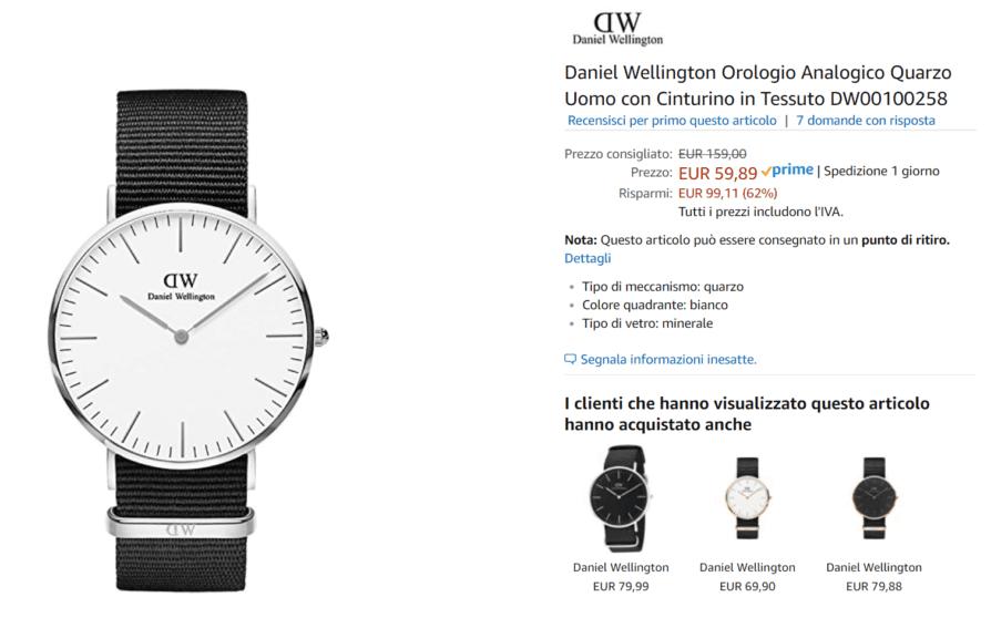 orologio uomo dw offerta