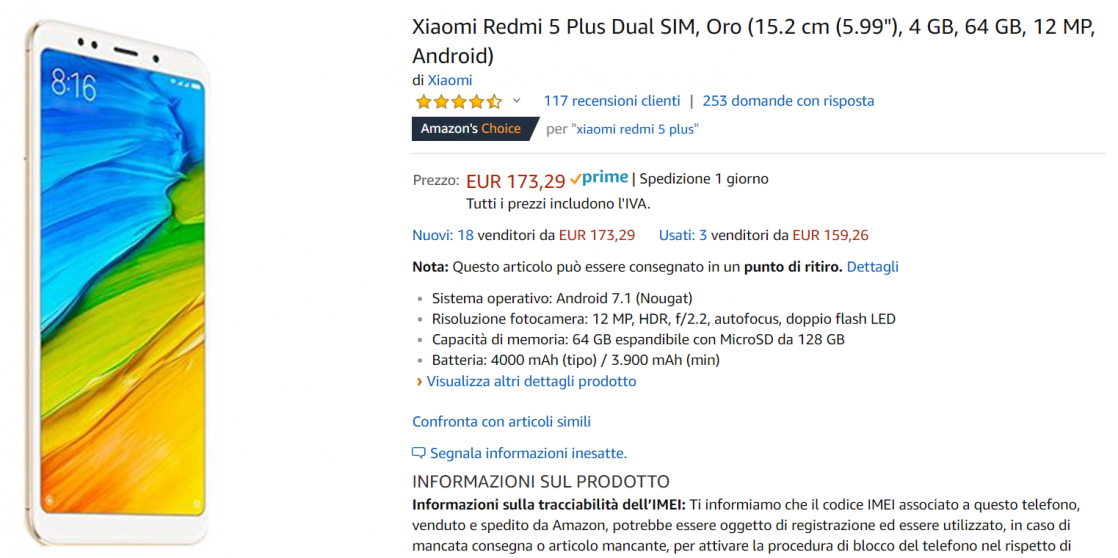 redmi 5 plus offerta