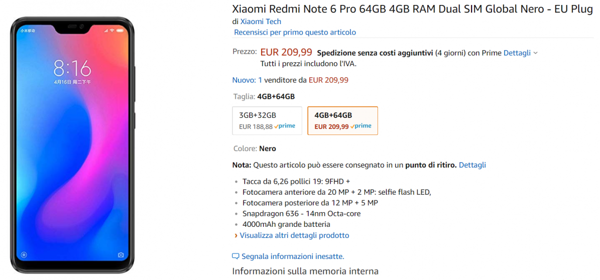 redmi note 6 offerta