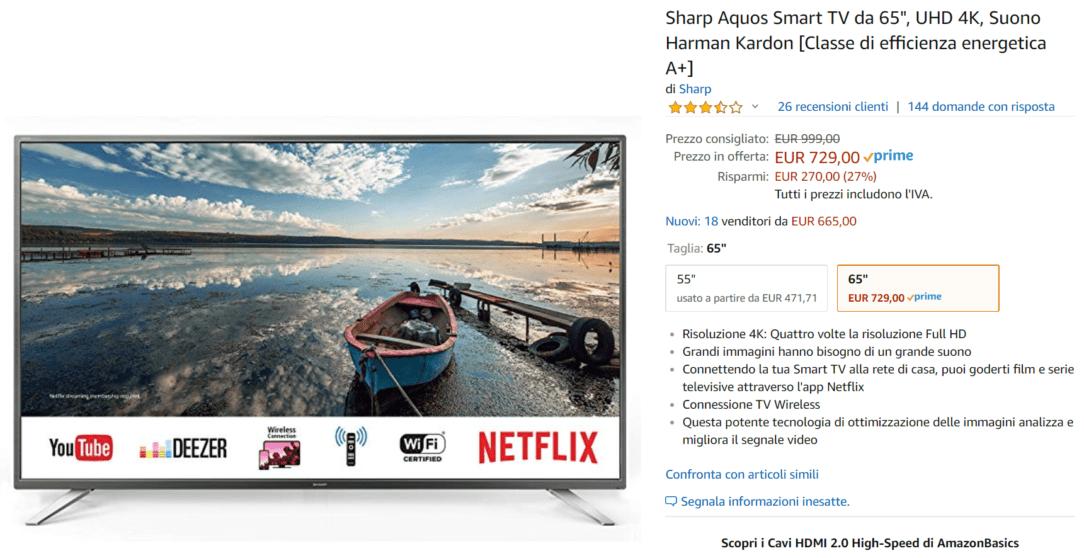 sharp tv offerta