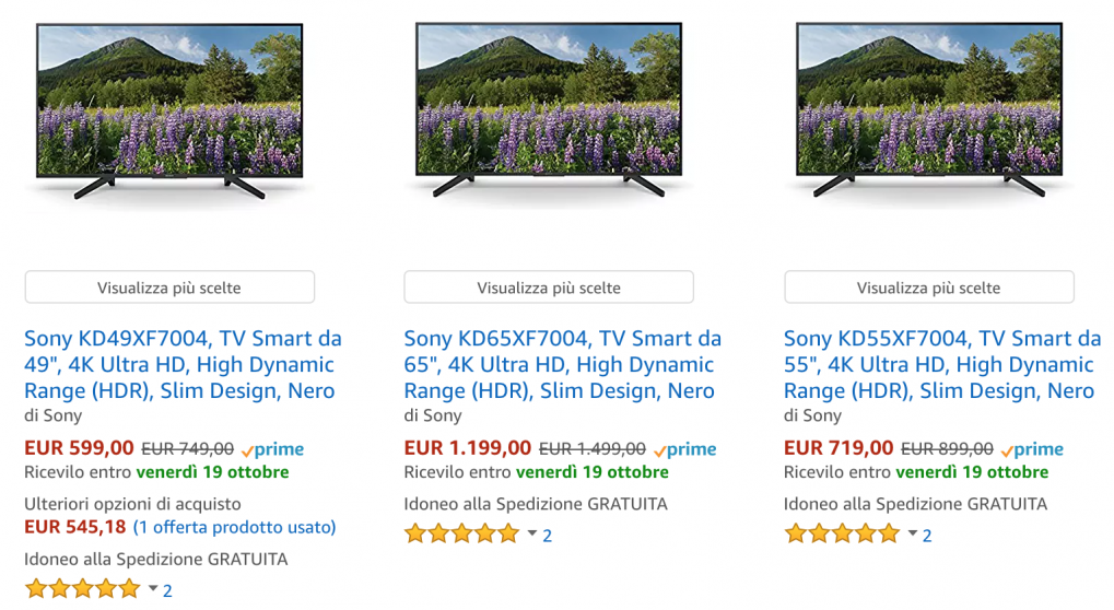 tv sony offerta