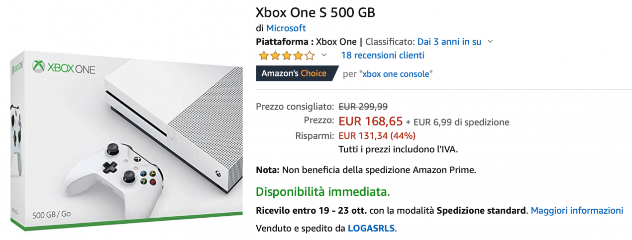 xbox one s offerta
