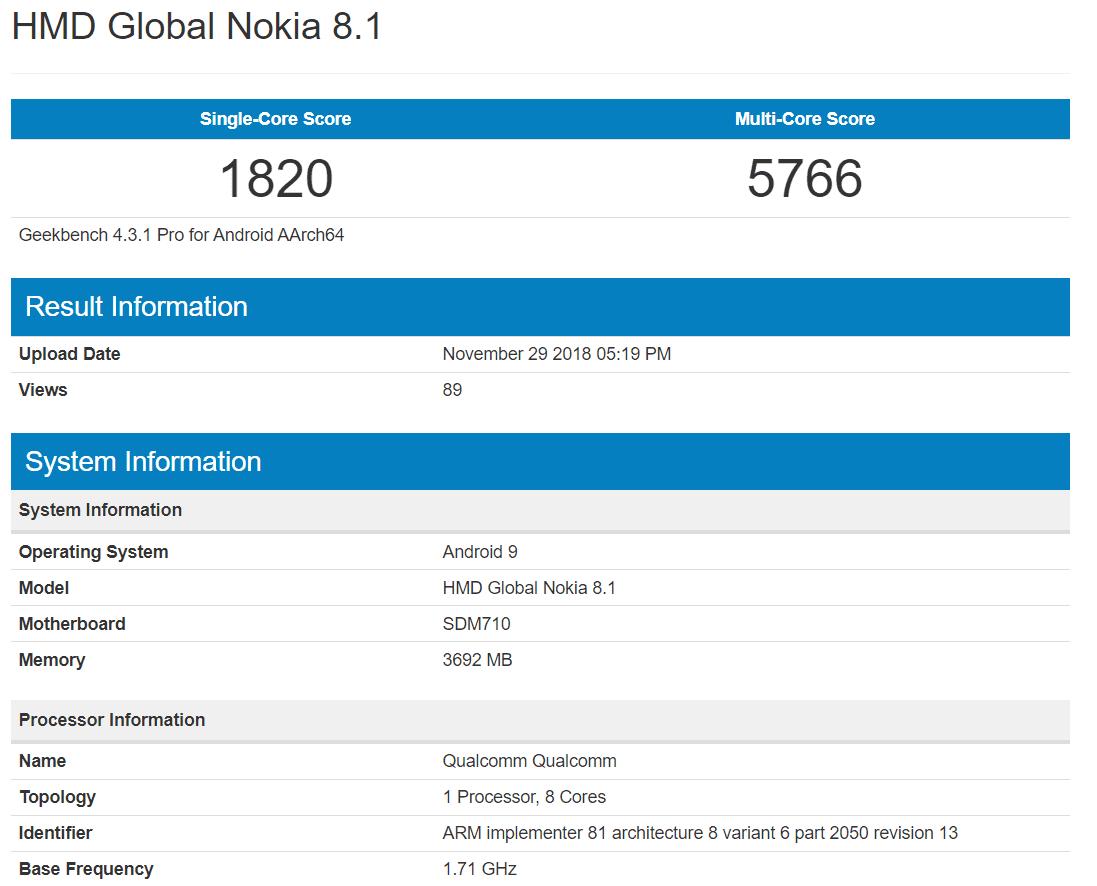 Nokia 8.1 si mostra su Geekbench a pochi giorni dalla presentazione