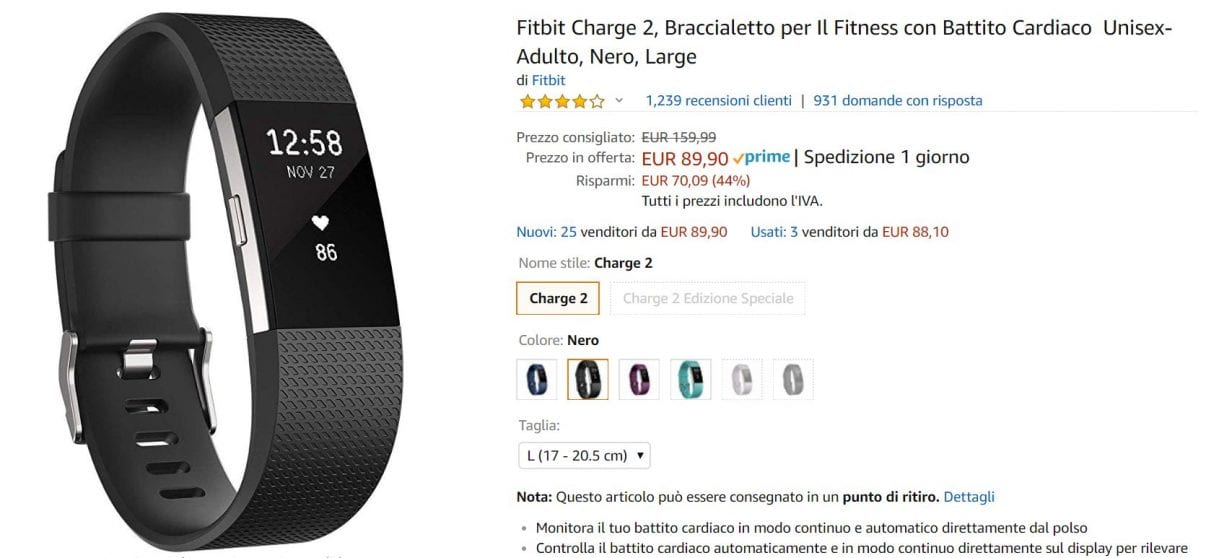 fitbit charge 2 offerta amazon