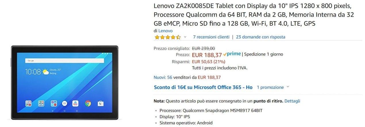 lenovo tablet offerta amazon