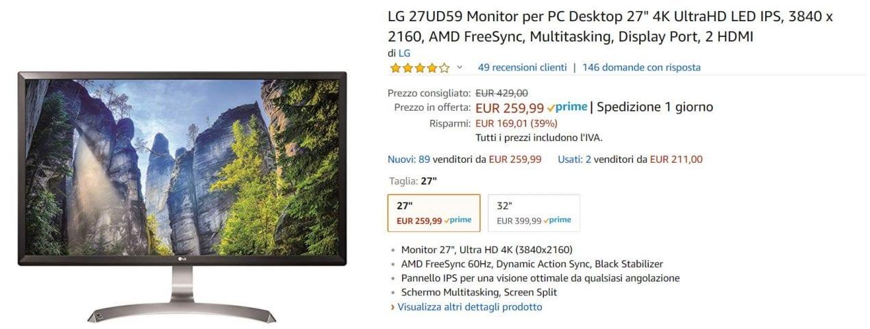 monitor lg 2 offerta amazon