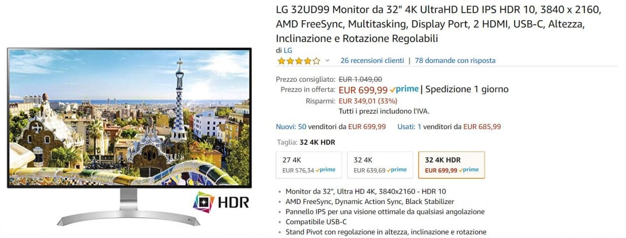 monitor lg offerta amazon