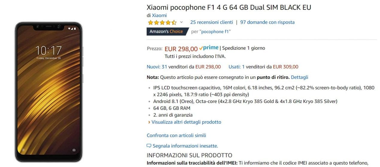 pocophone f1 offerta amazon