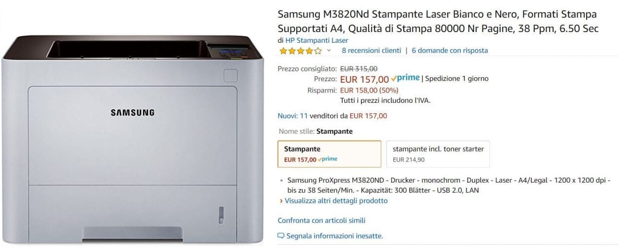 stampante samsung offerta amazon