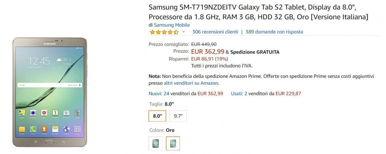 tab s2 offerta amazon