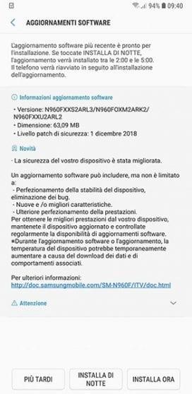 Samsung Galaxy Note 9 si aggiorna con le patch di sicurezza di Dicembre