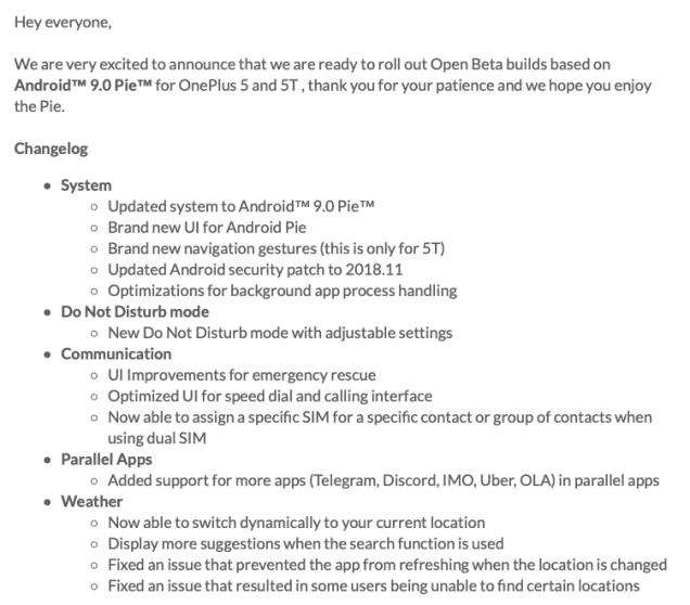 OnePlus 5/5T: arriva la prima beta con Android 9 Pie