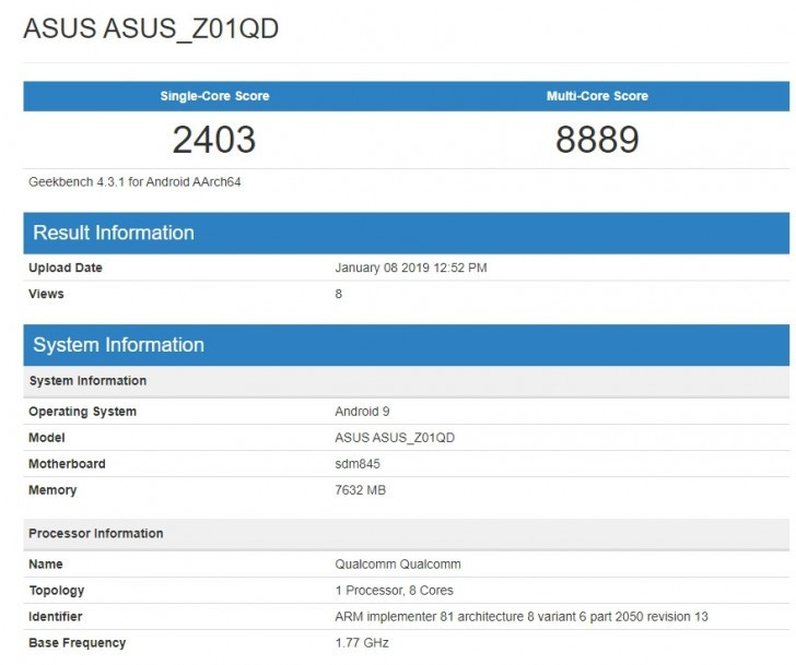 Asus ROG Phone Geekbench Android Pie