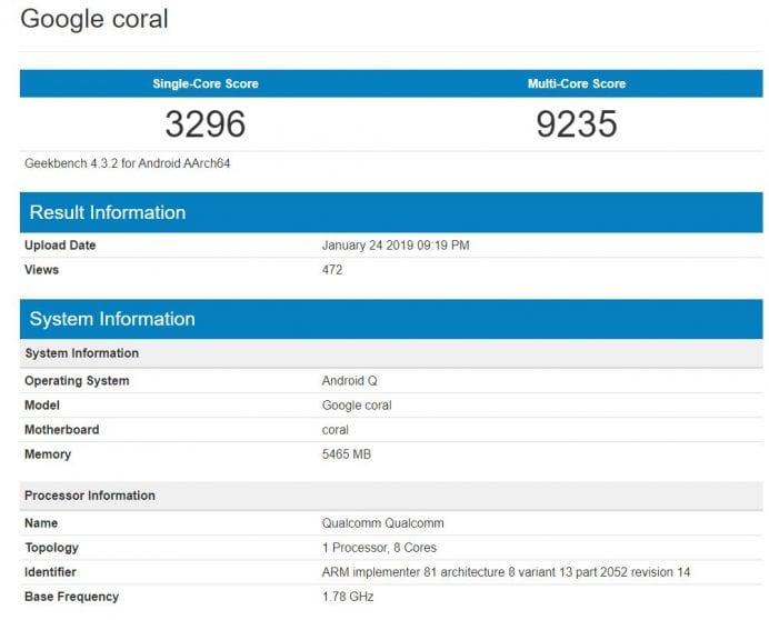 Google Coral compare su GeekBench